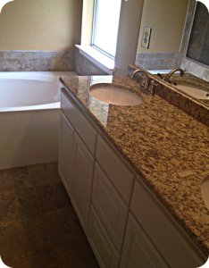 Granite vanity top in Omro master.
