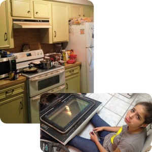 Serene Oaks filthy kitchen with bad appliances