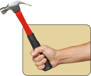 Disembodied hand swinging a hammer.