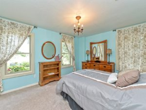 The blue bedroom. Look at the light fixture!