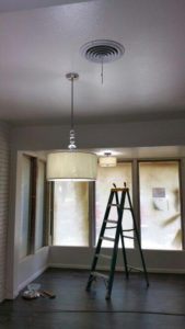New lighting in the dining area and front office have a 60s vibe.