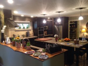 The kitchen is huge and also light, thanks to the new window