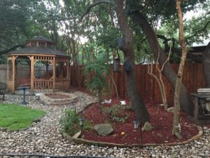 We have a gazebo, a woodland garden, and trails.