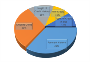 Payment History 35% Amount Owed 30% Length of Credit History 15% New Credit 10% Types of Credit in Use 10%