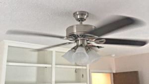 A chrome ceiling fan