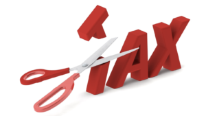 Scissors cutting the word TAX