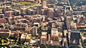 Arial view of the Texas Medical Center.