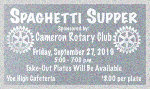 Spaghetti Supper at Yoe High Cafeteria on 27 September 5-7PM. Tickets $8.00