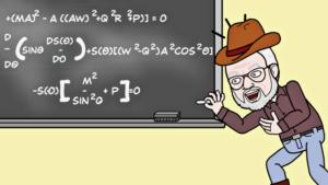 Bitmoji Lee writing formulae on a chalkboard