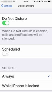 Screenshot of Do Not Disturb settings described in the text of the post